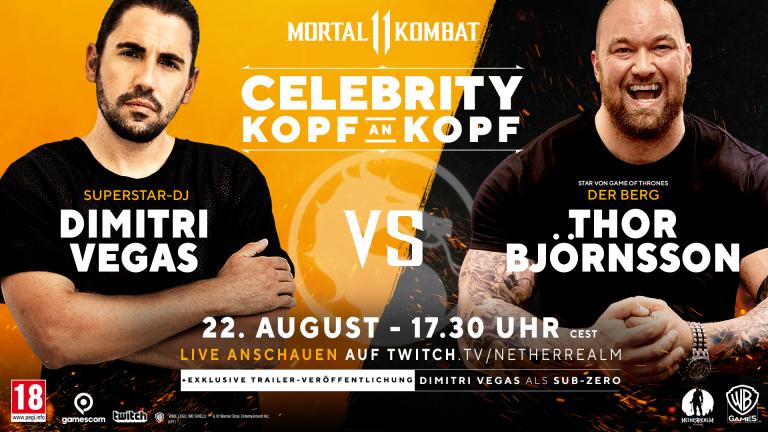 Mortal Kombat 11: DJ Dimitri Vegas tritt bei der gamescom 2019 gegen den GoT-Schauspieler Hafþór Júlíus Björnsson