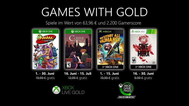 Games with Gold: Diese Spiele gibt es im Juni gratis