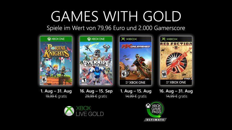 Games with Gold: Diese Spiele gibt es im August gratis